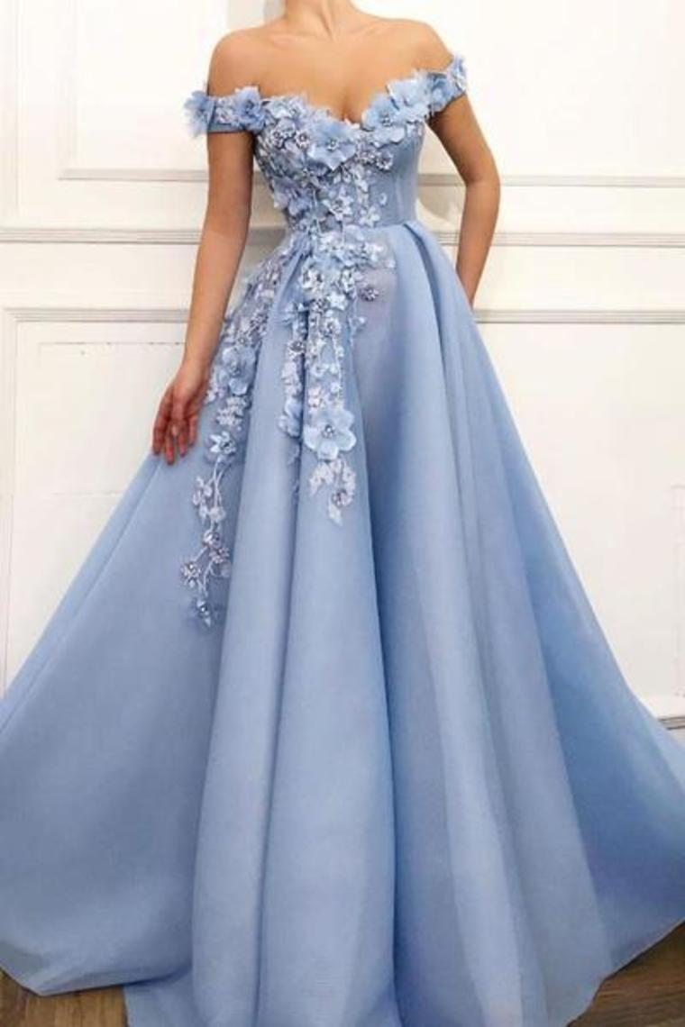 17 Off The Shoulder A Line Prom Dresses Organza With Flower Appliques US$  17.17 PPP17AFN17 - PopProms.com for mobile