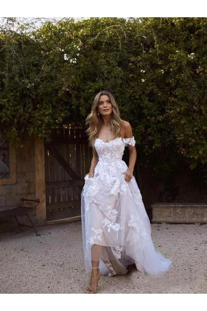 Simple A Line Off The Shoulder White Beach Wedding Dresses Us 239 99 Pppcclly7m Popproms Com For Mobile,Wedding Guest Dresses Plus Size Uk