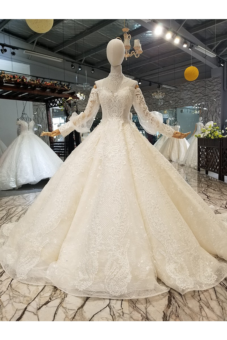 Count Train Princess Wedding Dresses Sweetheart Long Sleeves Ball Gown Wedding Gown Us 599 00 Pppj37m9ke Popproms Com For Mobile,Wedding Dresses For Big Busts